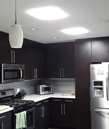 Solatube's daylighting technology being used to light up a kitchen.