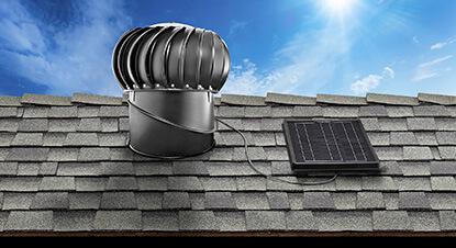 Internal mount solar attic fan example.
