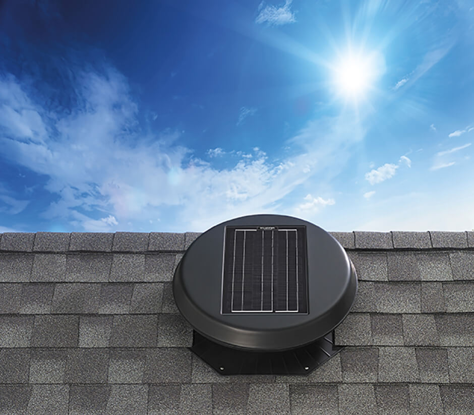 Image of the solar attic fan model Roof Mount 1500.