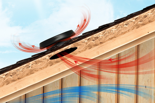 Illustration of Solar Attic Fan pulling heat from home.