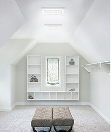 Solatube's daylighting technology being used to light up a closet.