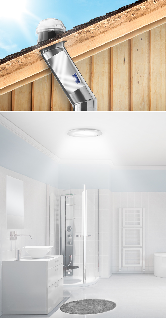 Solatube lighting fixtures provide proper lighting for bathrooms.