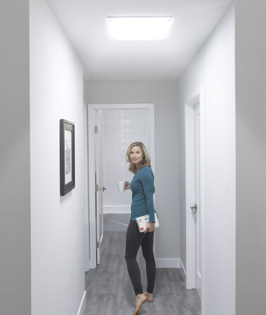 Solatube's daylighting technology being used to light up a hallway.