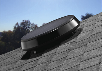 Roof mounted ventilation fan with a low profile.