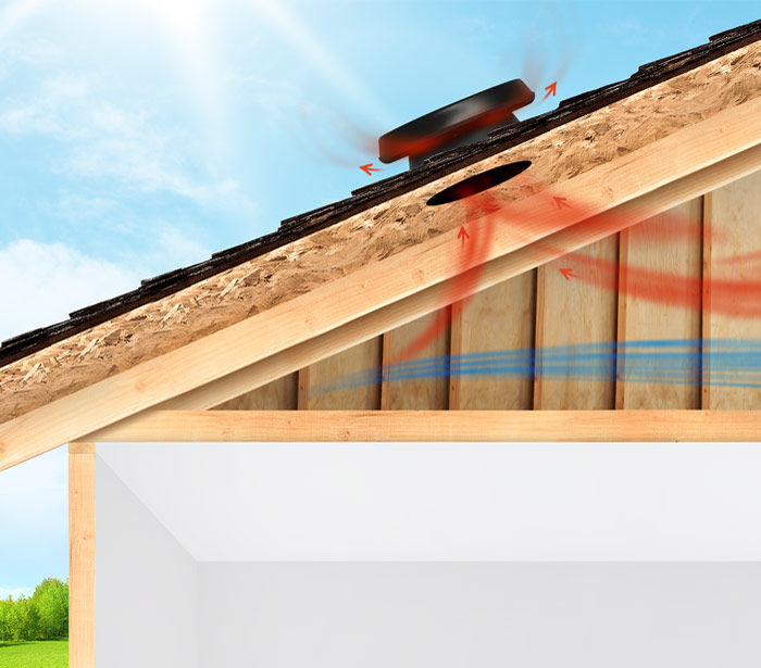Illustration of a solar power attic fan venting heat from the attic.